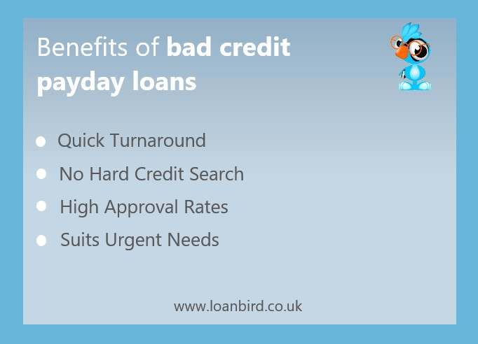loanbird displaying a list of the advantages of bad credit payday loans